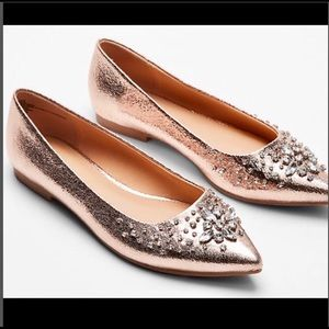 EXPRESS ROSE METALLIC RHINESTONE FLATS